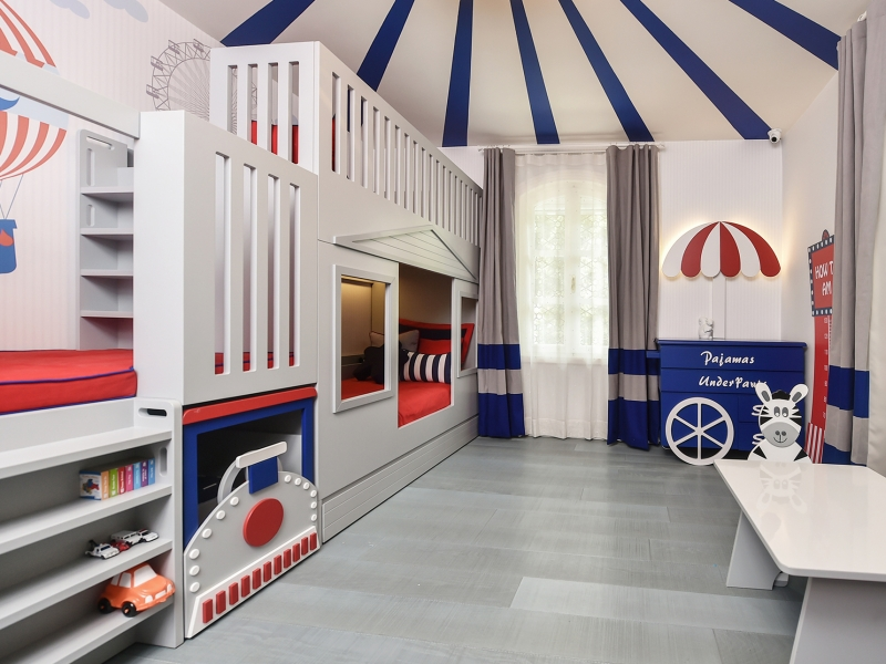 3-Crocodily-Sirk temalı, kırmızı, lacivert en eğlenceli çocuk odası tasarımı