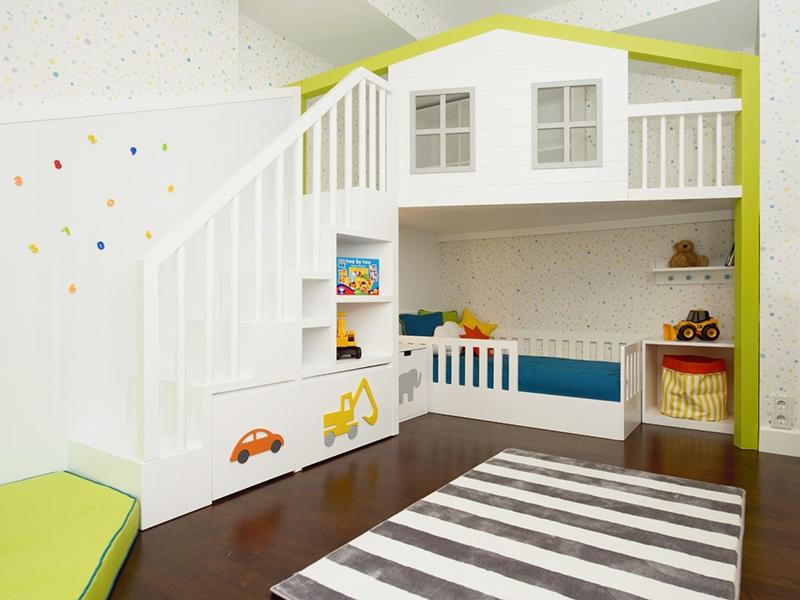 1-Crocodily- Çocuk odası tasarımı-Ranza uygulamalı çocuk oyun alanı ve çocuk yatağı tasarımı