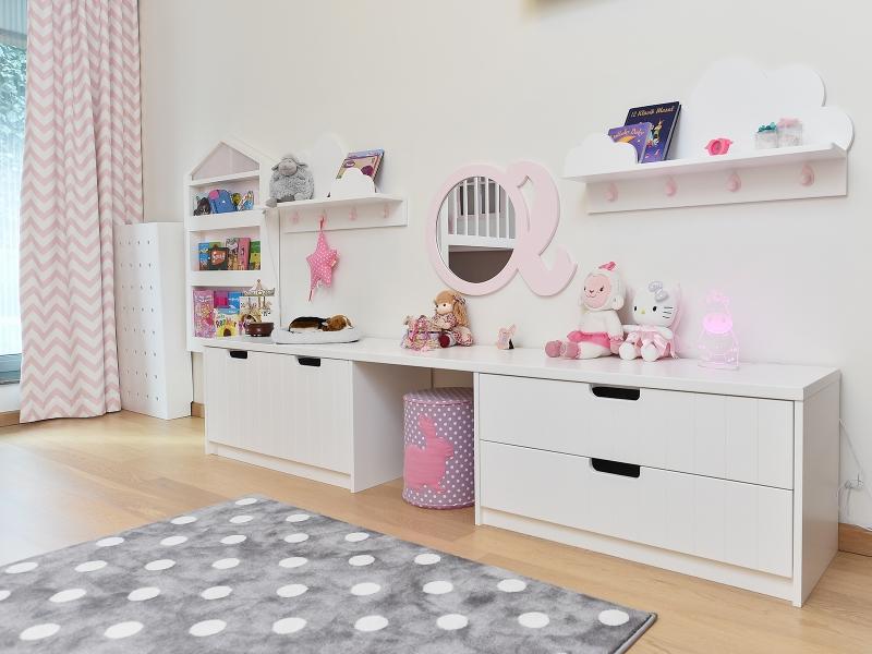 3-Crocodily- beyaz renkli kitaplık,çocuk odası makyaj masası ve pembe tasarım ayna-kız çocuk odası mobilyaları tasarımı
