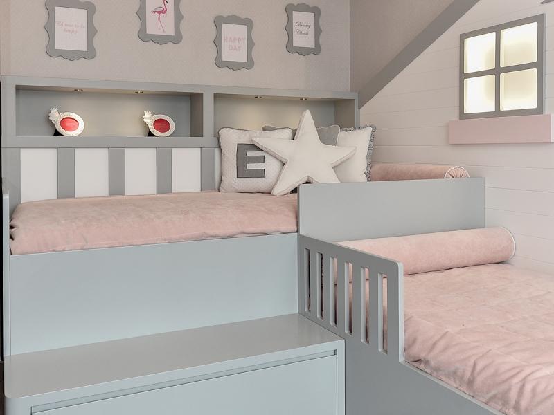 5-Crocodily-Gri,somon ev figürlü,gizli aydınlatmalı 2 kız kardeş çocuk odası mobilyaları